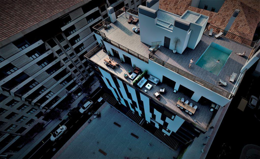 Infografía del Residencial Buenos Aires vista desde planta