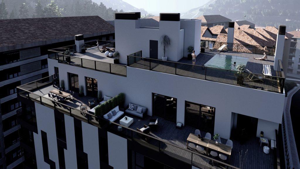 Infografía del edificio en la que se visualizan perfectamente las terrazas de los áticos y la cubierta transitable con piscina.