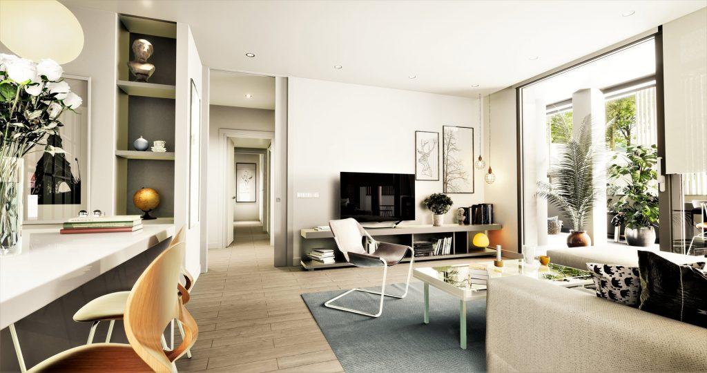Infografía del salón de una vivienda