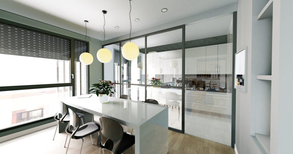 Infografía de la cocina de una vivienda