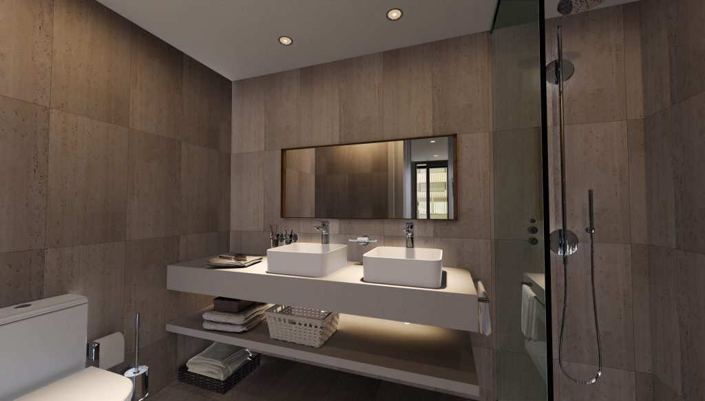 Infografía de un baño de una de las viviendas