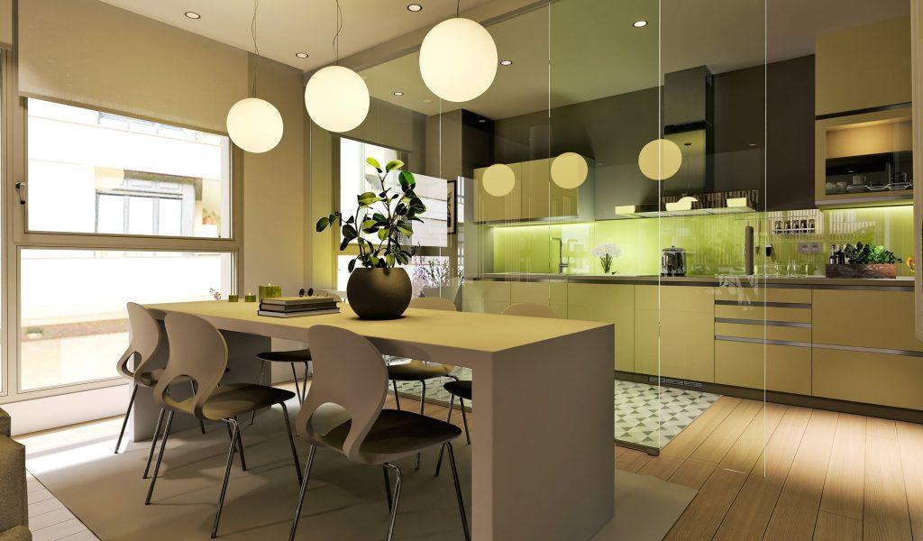 Salón comedor y cocina de una de las viviendas