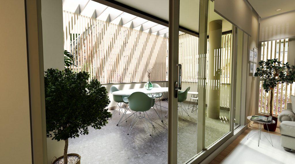 Una terraza de una de las viviendas del Residencial Buenos Aires